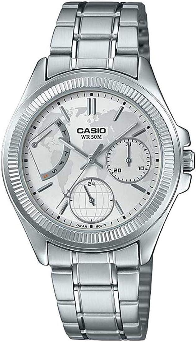 Casio Ltp-2089d-7a2 Reloj Analógico para Mujer Caja De Metal Esfera Color Plateado