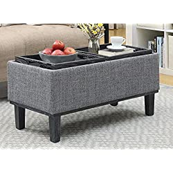 Convenience Concepts 143900BL Designs4Comfort Brentwood Ottoman, Black