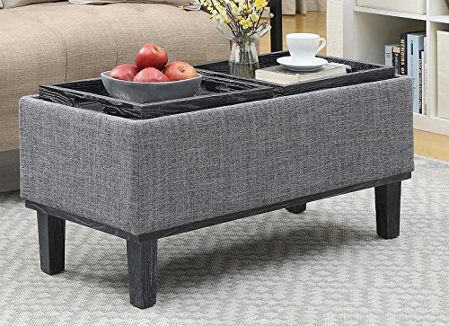 Convenience Concepts 143900BL Designs4Comfort Brentwood Ottoman Gray Fabric
