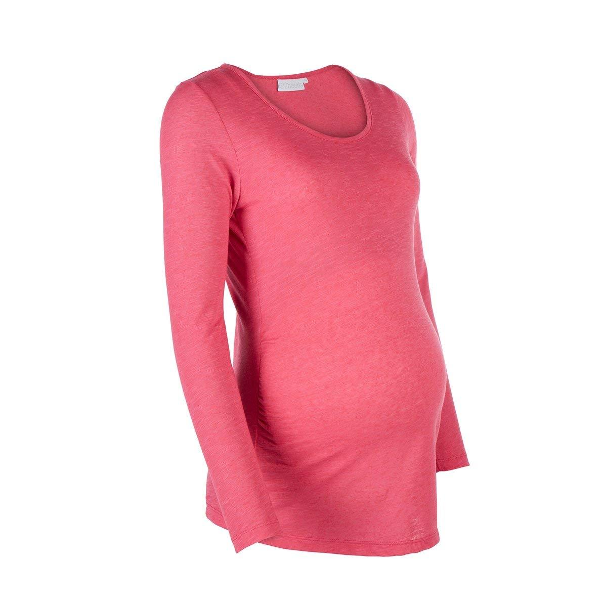 lang/ärmeliges Schwangerschaftsoberteil mit Rundhalsausschnitt aus Reiner Baumwolle 2HEARTS Umstands-Shirt Flammgarn Love is in The Air