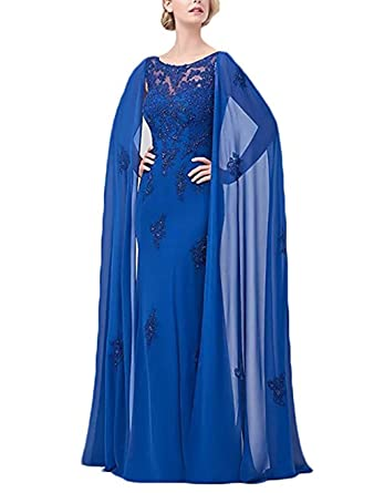 Ri Yun Appliques Beaded Mother Of The Bride Dresses Wedding Party Dresses With Capes For Women