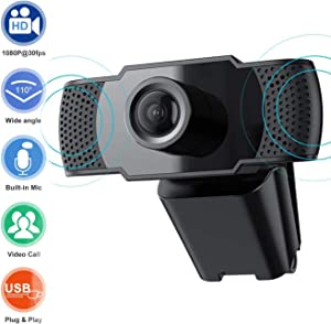 2020 [Upgraded] 1080P HD Webcam with Microphone, Laptop Desktop PC Web Camera 2MP, 30fps, USB Plug and Play Video Computer Camera for Live Streaming, Gaming, Calling and Conferencing