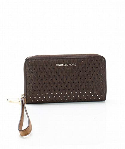 70b1ecb0be8f87 Michael Kors Jet Set Perforated MK Signature Smartphone Wristlet in Brown,  Medium: Handbags: Amazon.com