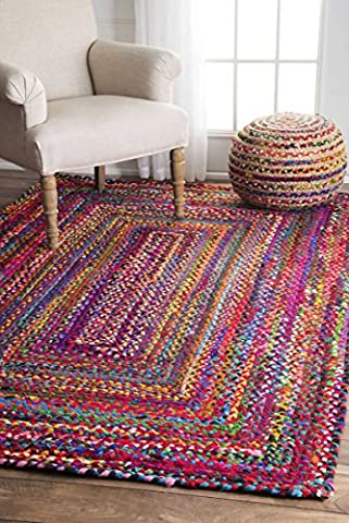 nuLOOM Handmade Casual Cotton Braided Area Rugs, 2' x 3', Multicolor (Cotton Area Rugs 2x3)