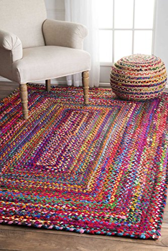 Casual Handmade Braided Cotton Multi Area Rugs, 7 Feet 6 Inches by 9 Feet 6 Inches (7' 6