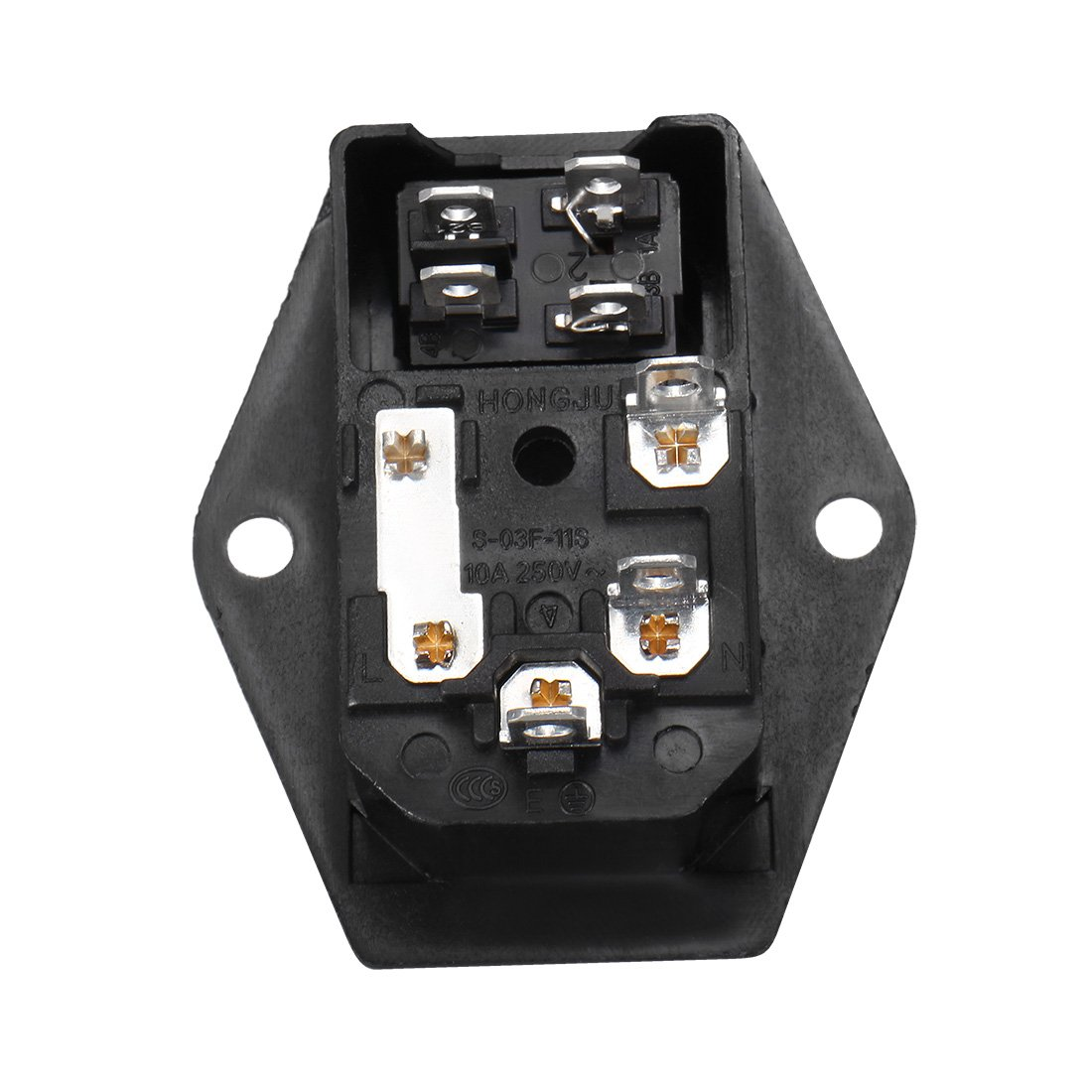 Uxcell Iec 320 C14 Inlet Male Power Supply Connector With Rocker Amazoncom Module Plug Fuse Switch Socket 10a 250v 3 And Holder