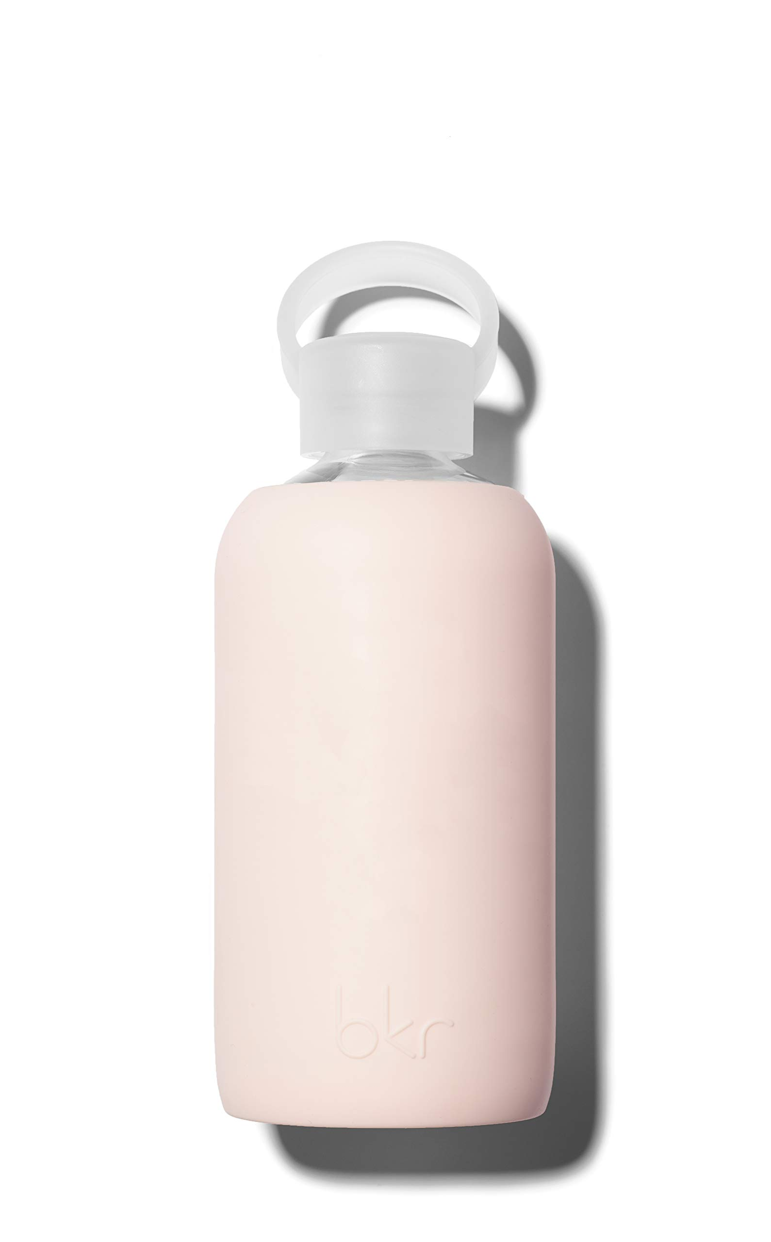 bkr Tutu Glass Water Bottle with Smooth Silicone Sleeve for Travel, Narrow Mouth, BPA-Free & Dishwasher Safe, Opaque Ballet Pale Peachy Pink, 16 oz / 500 mL by bkr (Image #1)