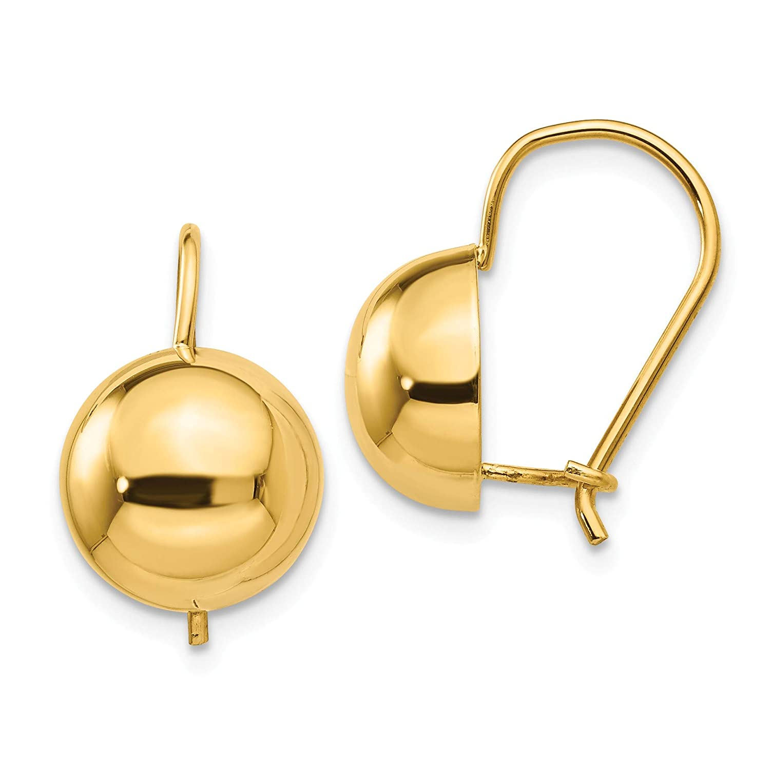 14k 10.50mm Hollow Half Ball Earrings in 14k Yellow Gold