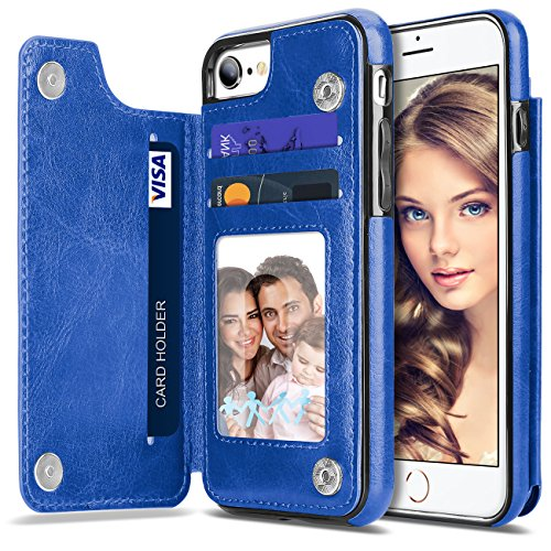 Vofolen Case Compatible iPhone 6S Case Wallet Card Holder Flip Cover ID Pocket Protective TPU Bumper Shell Magnetic Folio PU Leather Case with Hidden Credit Card Slot for iPhone 6 iPhone 6S (Blue)