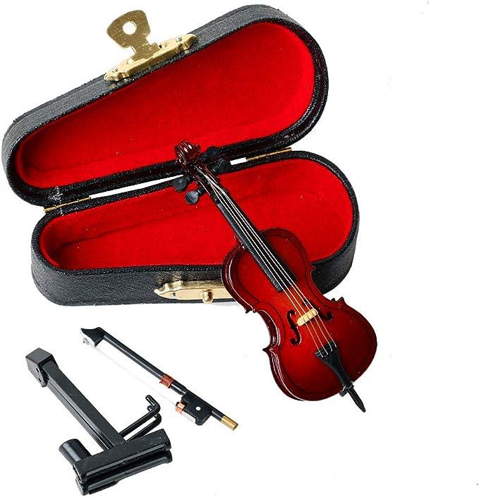 Seawoo Cello en Miniatura de Madera Soporte, Arco y Estuche, Mini Instrumento Musical en Miniatura, decoración para casa de muñecas: Amazon.es: Hogar