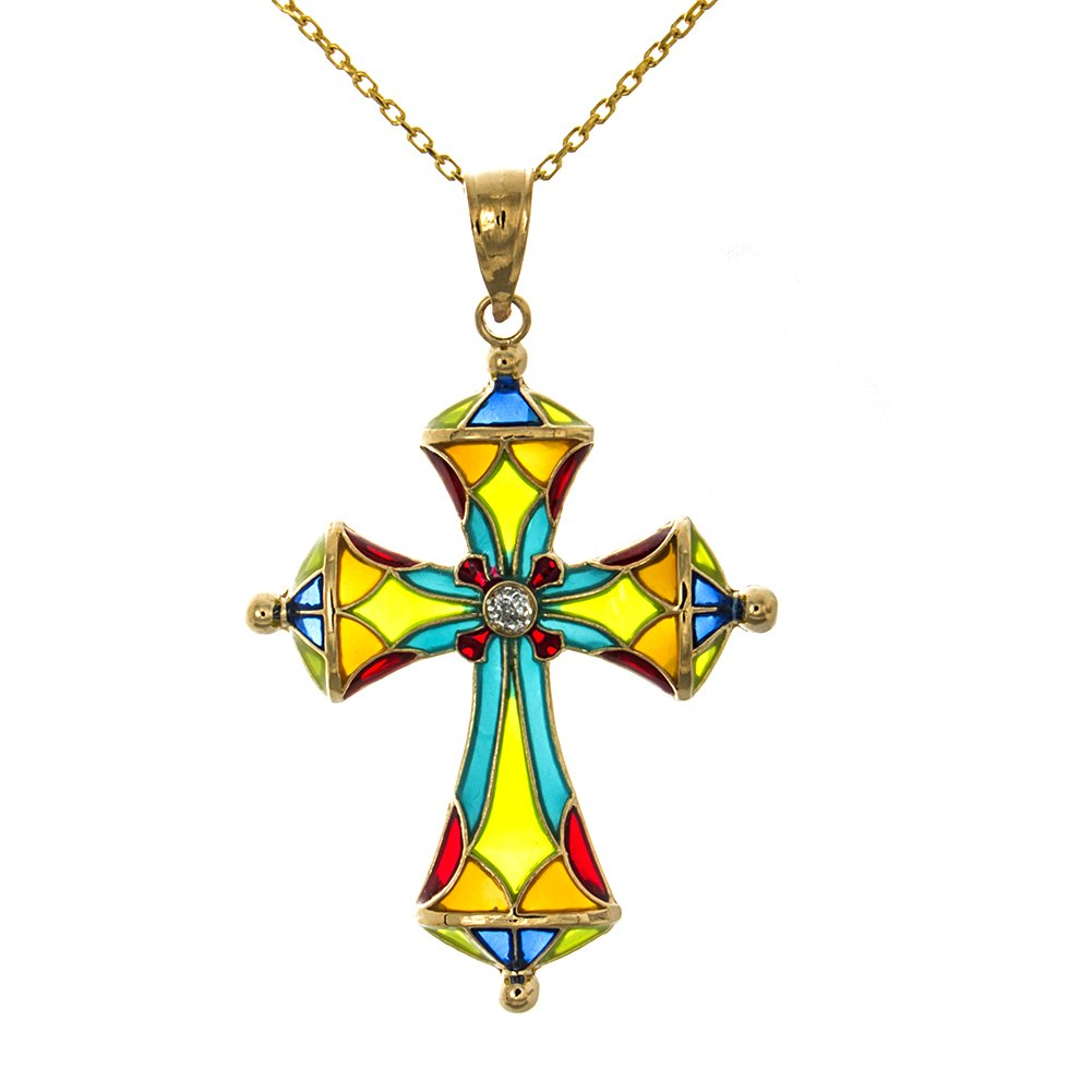 14k Yellow Gold Religious Cross Pendant with Chain, Stained Glass Enamel with Dome Tips