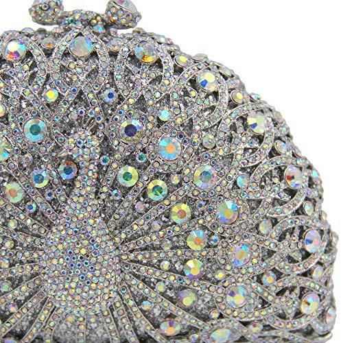 Da High Crystal Luxury 5 Peacock End 6 Type Prom Full Sera Pochette FFLLAS Handbag Diamond Donna Borsa Da vxwOPAFqI