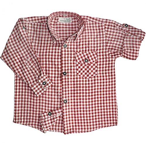 Kinder jungen Trachtenhemd für Trachtenlederhosen Oktoberfest Rot/karo, Größe:140/146