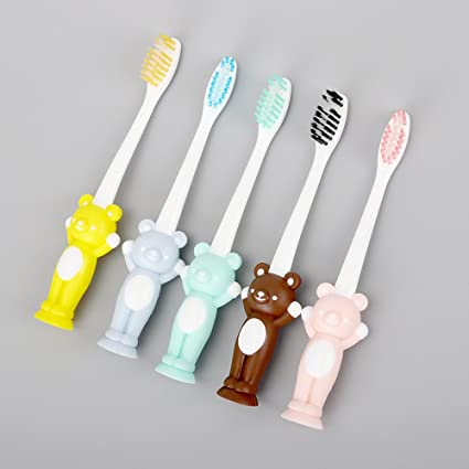 4pcs Set de cepillo de dientes para bebés pequeños niños cerdas suaves Kit de cuidado oral