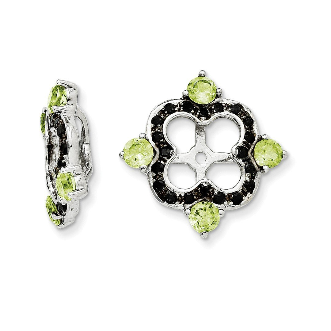 ICE CARATS 925 Sterling Silver Green Peridot Black Sapphire Earrings Jacket Birthstone August Fine Jewelry Gift Set For Women Heart