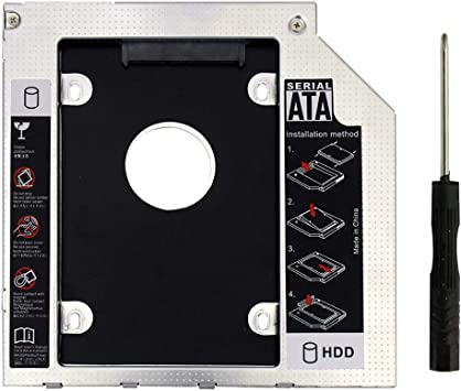 2nd SATA Second HDD Caddy to SATA 2.5 HDD SSD 9.0mm Enclosure for Laptop CD ROM