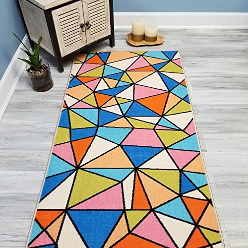 Your Choice Length Multicolor Mosaic Tiles Non-Slip Rubber Backed Carpet Runner Rug | 31-inch x 14-feet (Multicolor Mosaic Tile)