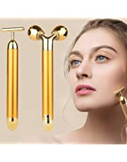 2-IN-1 Beauty Bar 24k Golden Pulse Facial Face Massager,Electric 3D Roller and T Shape Arm Eye Nose Head Massager Instant Face Lift,Anti-Wrinkles,Skin Tightening,Face Firming