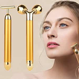 2-IN-1 Beauty Bar 24k Golden Pulse Facial Massager, Electric 3D Roller and T Shape Arm Eye Nose Head Massager Instant Face Lift,Anti-Wrinkles,Skin Tightening,Face Firming