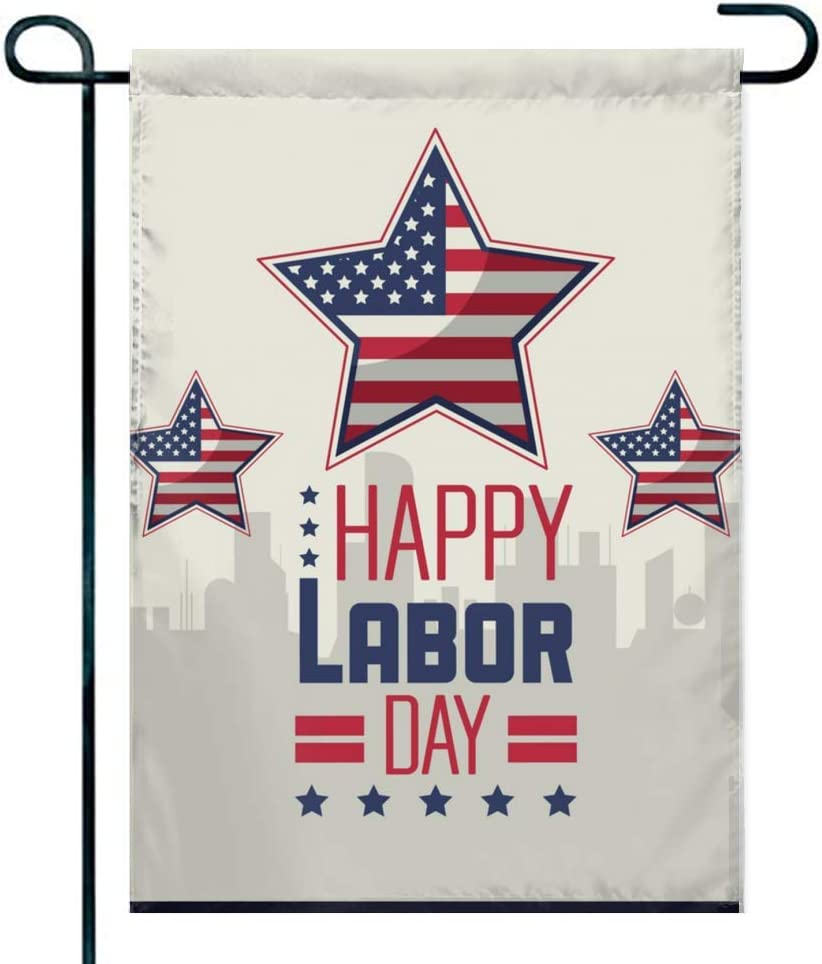 Amuseds Happy Labor Day Garden Flag Holiday Decoration Double Sided Flag 12