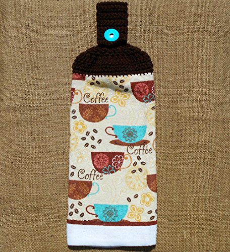 Coffee Themed Double Sided Hanging Kitchen Towel With A Brown Crocheted Top