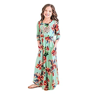 064a2f63092 Remiel Store Toddler Baby Girls Long Sleeve Floral Print Casual Ankle-Length  Maxi Dresses (
