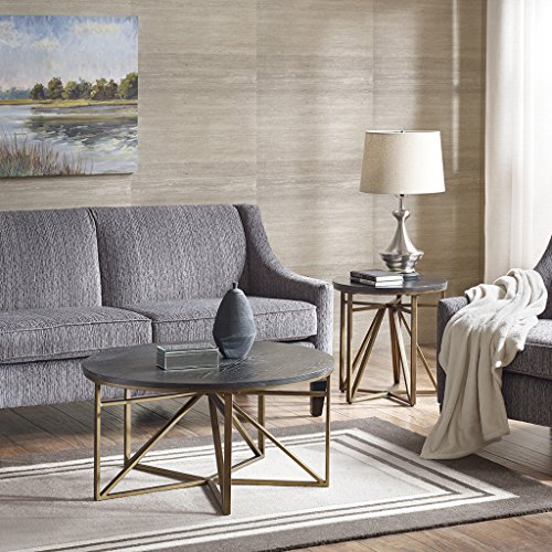 Madison Park Madison Accent Tables - Metal, Wood Side Table - Black, Gold, Modern Style End Tables - 1 Piece Antique Bronze Small Tables For Living - Marble Tables Antique