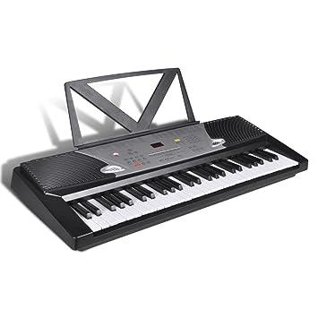 Teclado Eléctrico de 54 Teclas con Atril Fácil de Tocar: Amazon.es: Instrumentos musicales