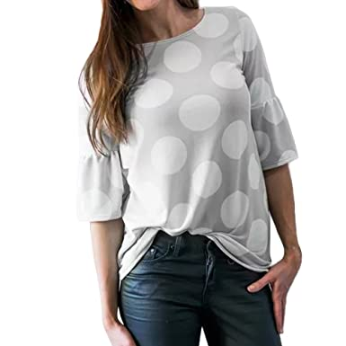 Blouses for Womens, FORUU Fashion Flare Sleeve Dot Printed Causal T Shirts Tops