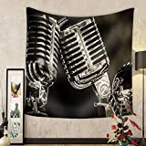 Gzhihine Custom tapestry Closeup of Chromed Retro Recording Studio Microphones - Fabric Wall Tapestry Home Decor