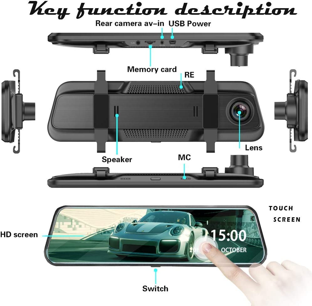 10 Dual Lens Mirror Dash Cam Firehorse Touch Screen Car DVR Front and Rear Mirror Camera Video Recorder 1080P 2 Camera,Driving Recorder /…