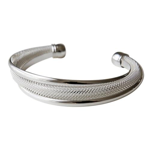 massiver offener filigraner Armreif, 925 Sterling Silber pl., Armband, Armkette, Schmuck, Geschenk für Valentinstag