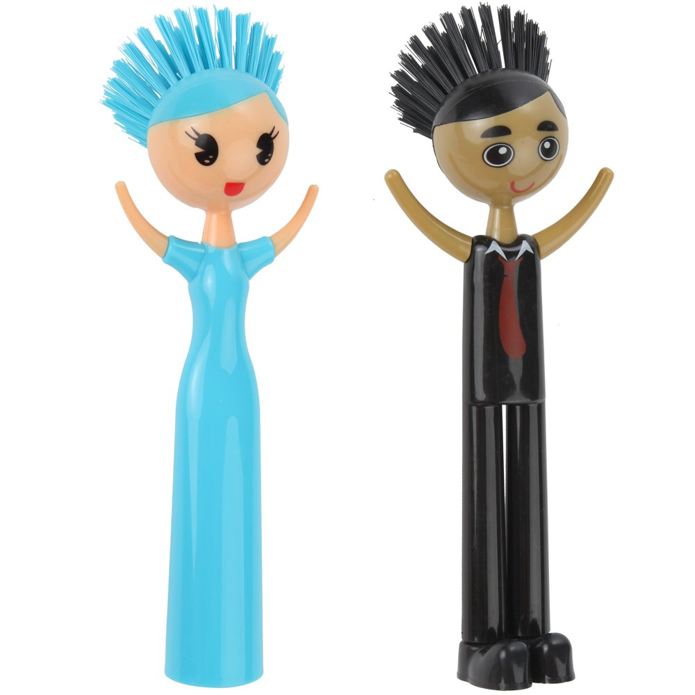 Home-X Doll Kitchen Scrub Brush, Set of Girl & Boy Design