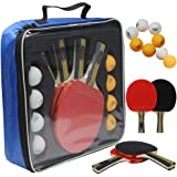MAPOL Quality Ping Pong Paddle Set - 4 Professional Table Tennis Rackets/Paddles - 8 Premium 3-Star Balls, Portable Cover Cas
