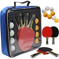 MAPOL Quality Ping Pong Paddle Set - 4 Professional Table Tennis Rackets/Paddles - 8 Premium 3-Star Balls, Portable…