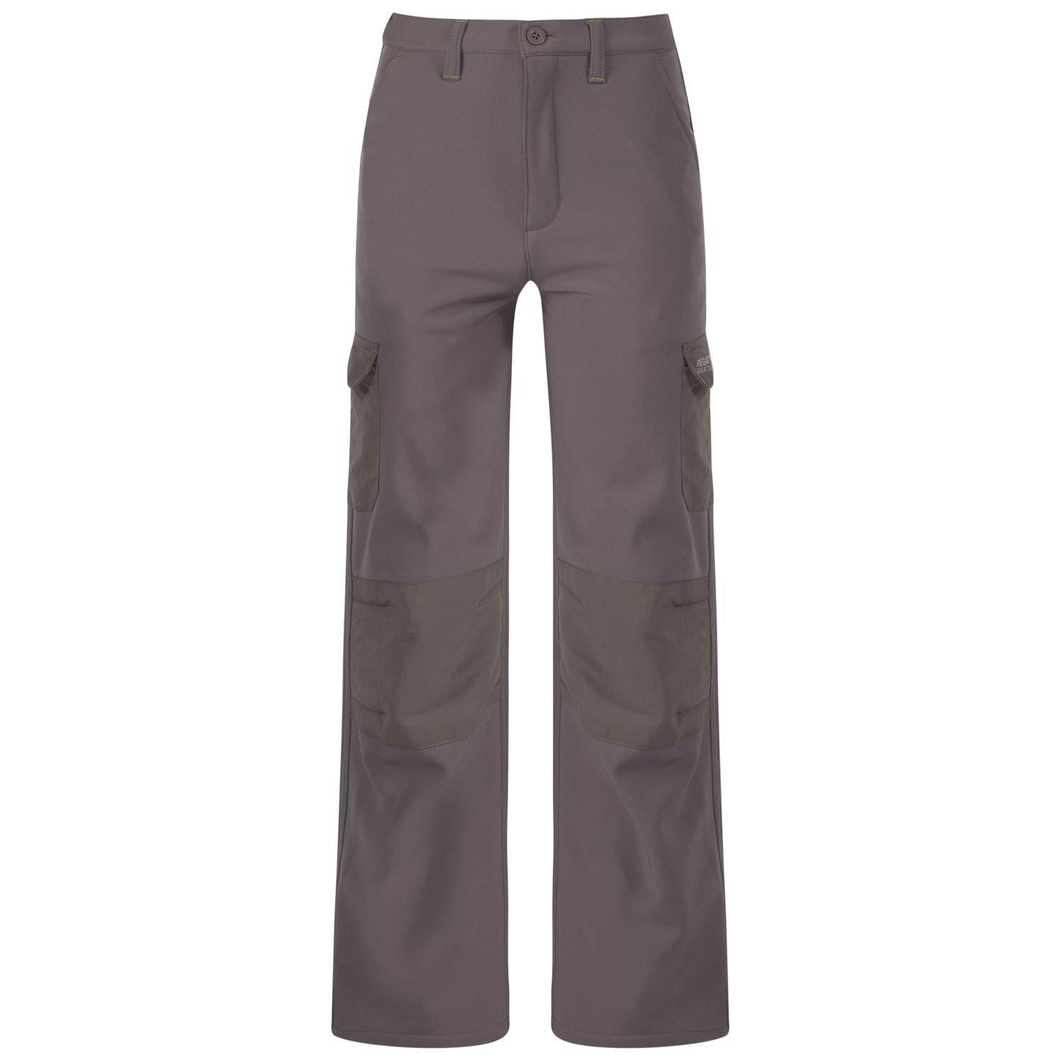 Regatta Great Outdoors Kids Boys Adventure Tech Softshell Weatherproof Trousers Rock Grey 28