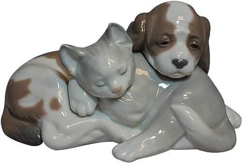 Lladro Figurine, 6599 Bosom Buddies, Kitty and Puppy Sleeping