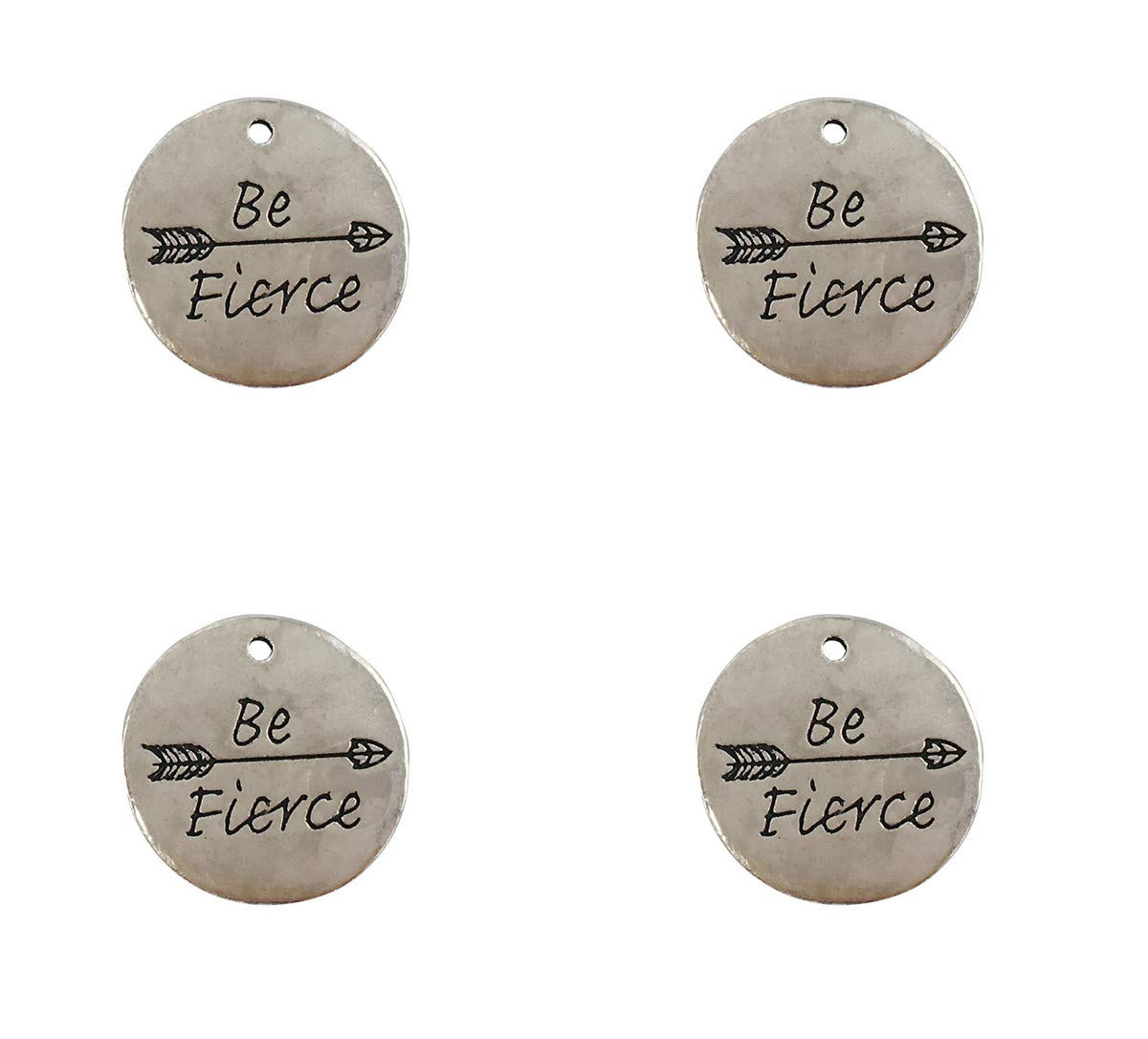 Yansanido Pack of 10 Alloy Silver Be Stronger Than The Storm Round DIY Antique Message Charms Pendant for Making Bracelet and Necklace Be Stronger Than The Storm