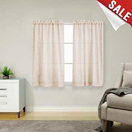 Charmant Linen Textured 45 Inch Long Curtains For Kitchen Window One Pair Tier  Curtains Crude Flax