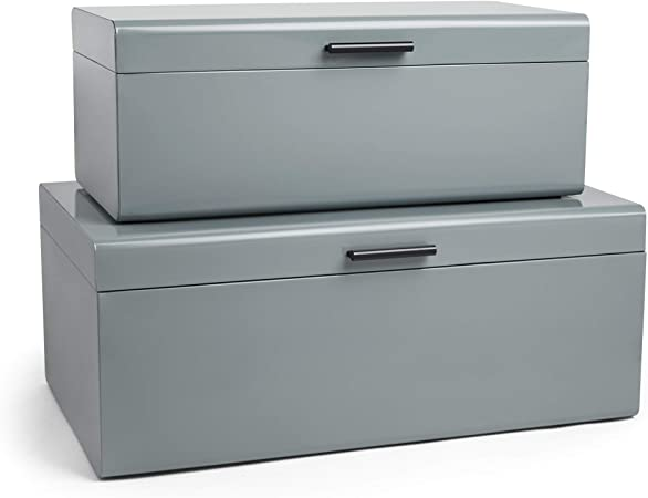 Vonhaus Juego de 2 Baúles Cofres de Metal Acero Caja de Almacenamiento para el Dormitorio y la Sala de Estar Vestidor – Gris: Amazon.es: Bricolaje y herramientas