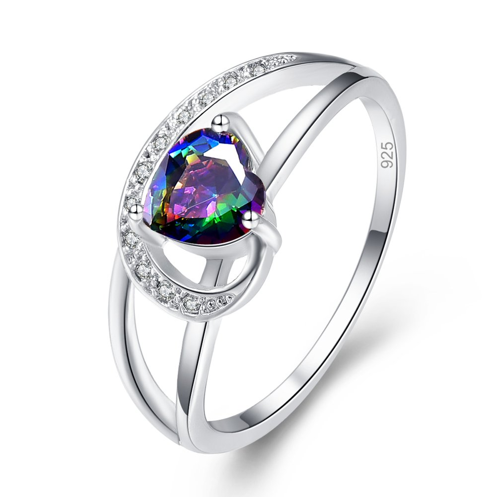 Psiroy 925 Sterling Silver Heart Created Rainbow Topaz Filled Engagement Ring Size 7