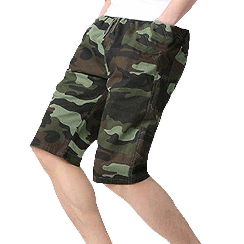 Alalaso Men Drawstring Black Sports Shorts Pattern Stitching Shorts