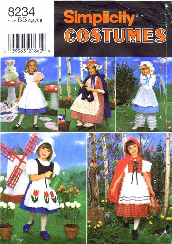 (Simplicity 8234 Sewing Pattern Girls Red Riding Hood Bo Peep Dutch Girl Alice in Wonderland Halloween Costume Size 5 - 6 - 7 -)