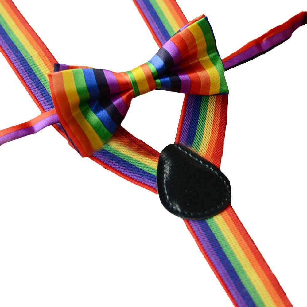 WaiiMak Kids Girls Boys Rainbow Multicolor Braces Suspenders and Rainbow Bow Tie Set (B) by WaiiMak (Image #1)