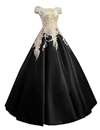 Angela Off Shoulder Lace Prom Dresses Ball Gown Quinceanera Dresses Cheap Long Satin AN021 - Black