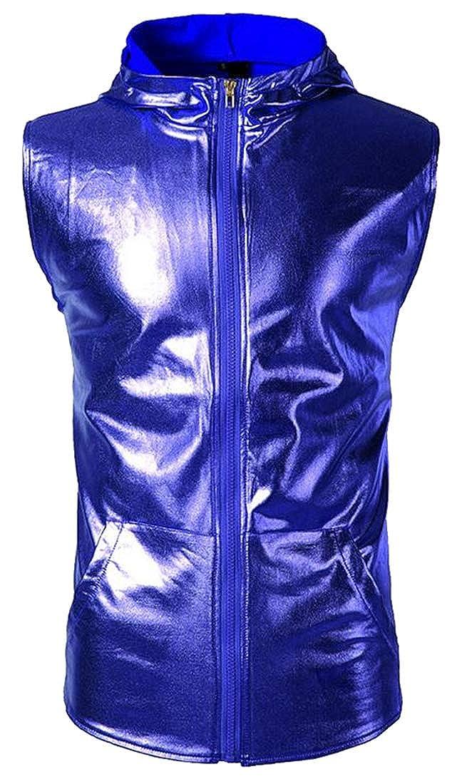 ARTFFEL Mens Hooded Full-Zip Fall /& Winter Club Party Stylish Waistcoat Vest Jacket Coat