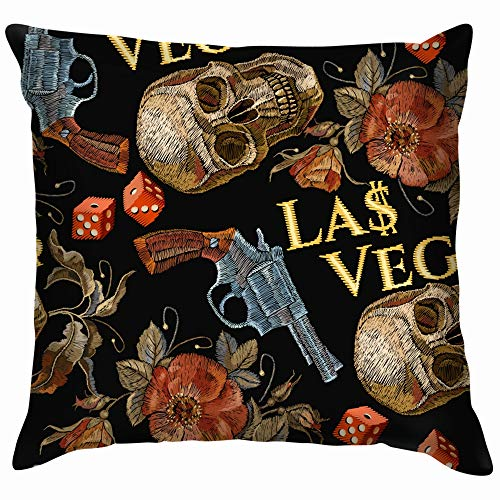 Embroidery Skulls Guns Dice The Arts Cowboy Beauty Fashion Funny Square Throw Pillow Cases Cushion Cover for Bedroom Living Room Decorative 18X18 Inch]()