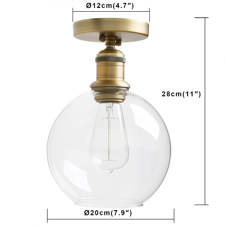 Yosoan Vintage Ceiling Light 1-Lights Pendant Lighting Chandelier with 7.9 Globe Clear Glass for Bathroom Porch Kitchen Living Room Dining Room Hotel Restaurant Bar and Foyer Antique