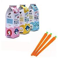 Set of 3 Simulation Milk Pencil Cases + 3 Carrot Gel Ink Pens Kawaii Stationery School Supplies kids gift