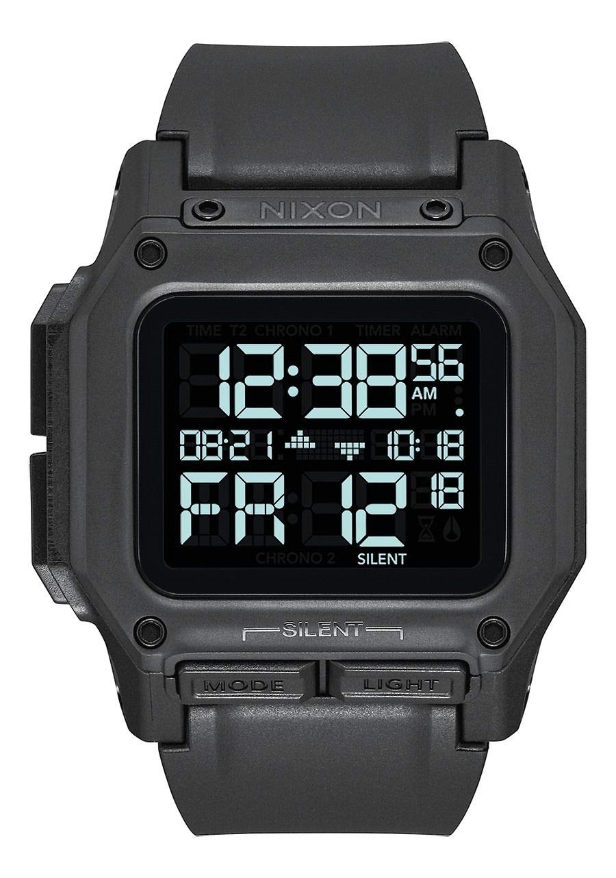 NIXON Regulus A1180 - All Black - 100m Water Resistant Men's Digital Sport Watch (46mm Watch Face, 29mm-24mm Pu/Rubber/Silicone Band)
